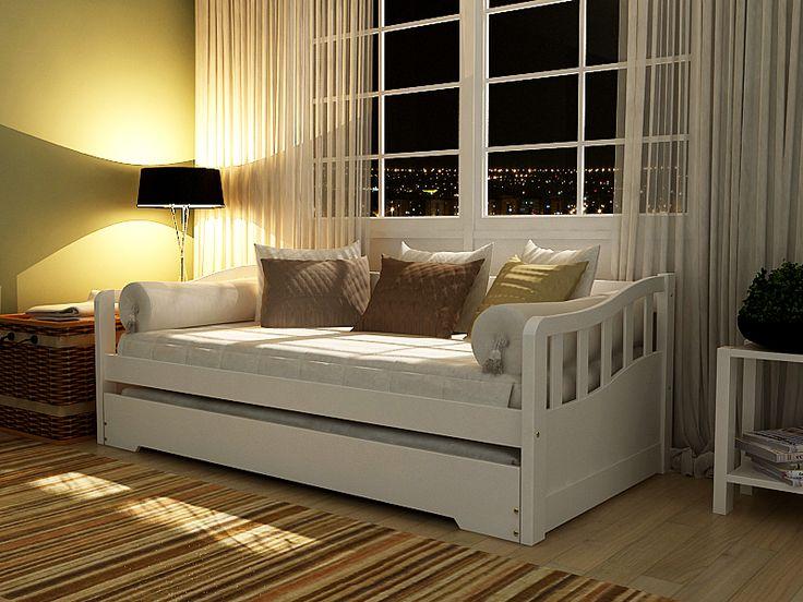 Bicama Solteiro - cama + cama auxiliar - Madeira Maciça Pinus na cor Branca - Coleção American