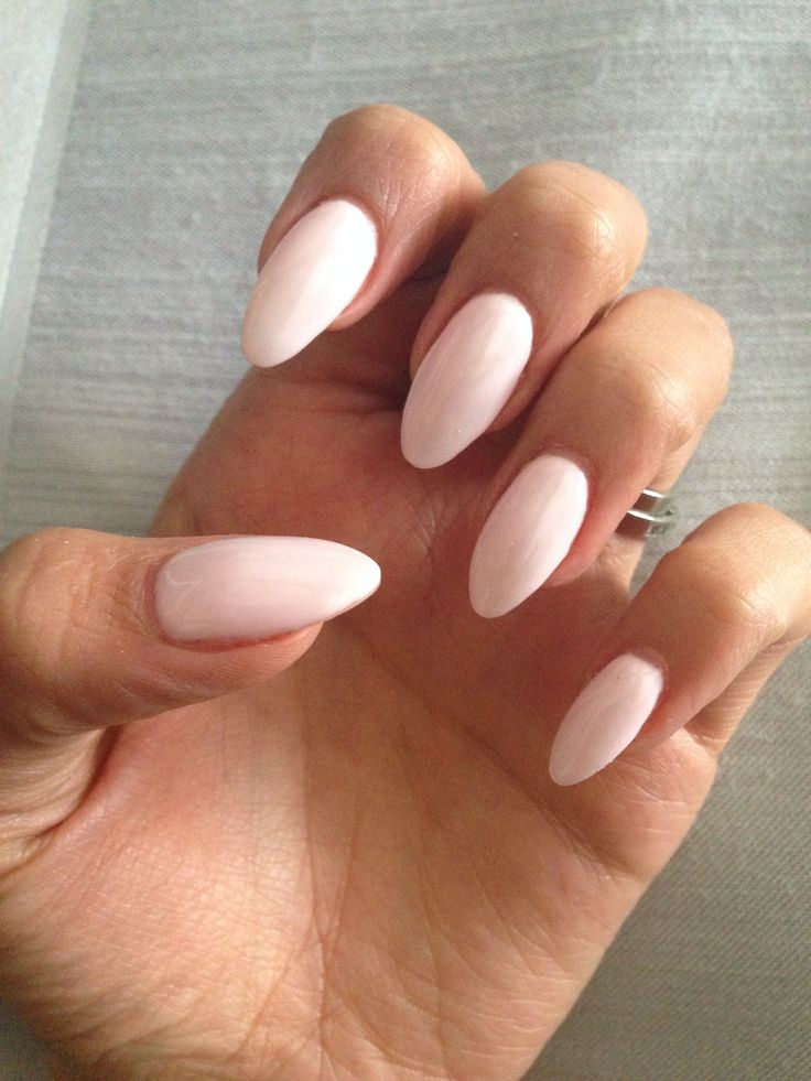 Almond gel nails with baby pink gel polish