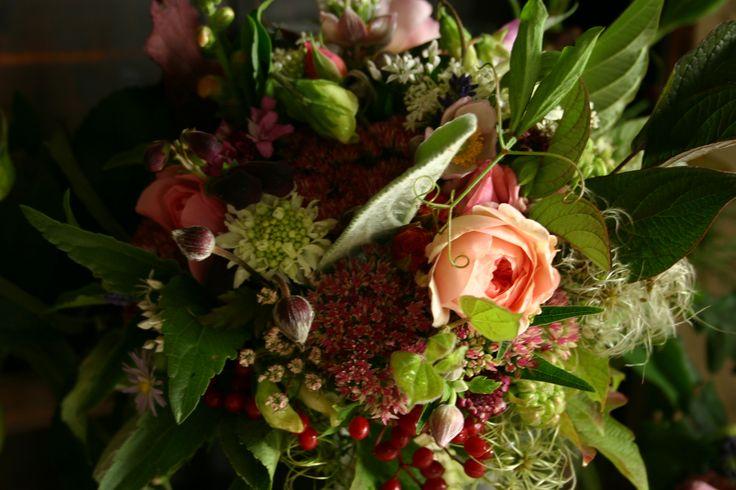 British cut flower bridal bouquet in Autumn tones by www.commonfarmflowers.com