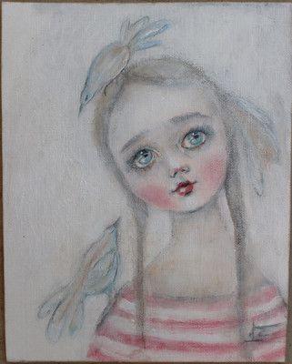 primitive folk art child blue birds painting k d milstein PFATT