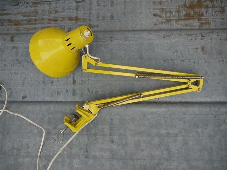 Retro vintage industrilampa arbetslampa PILEPRODUKTER LANDSKRONA på