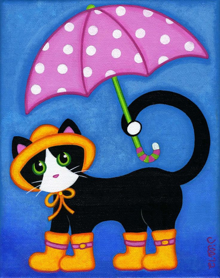 Kitty In Her Wellies With Polka Dot Umbrella Cat Art