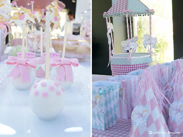The cake pops and the charming carousel.