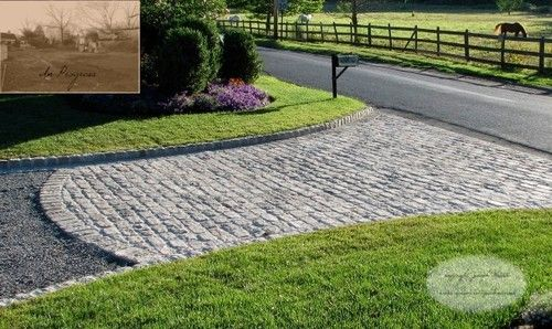 Could end a paver driveway into the gravel this way for Driveway apron ideas