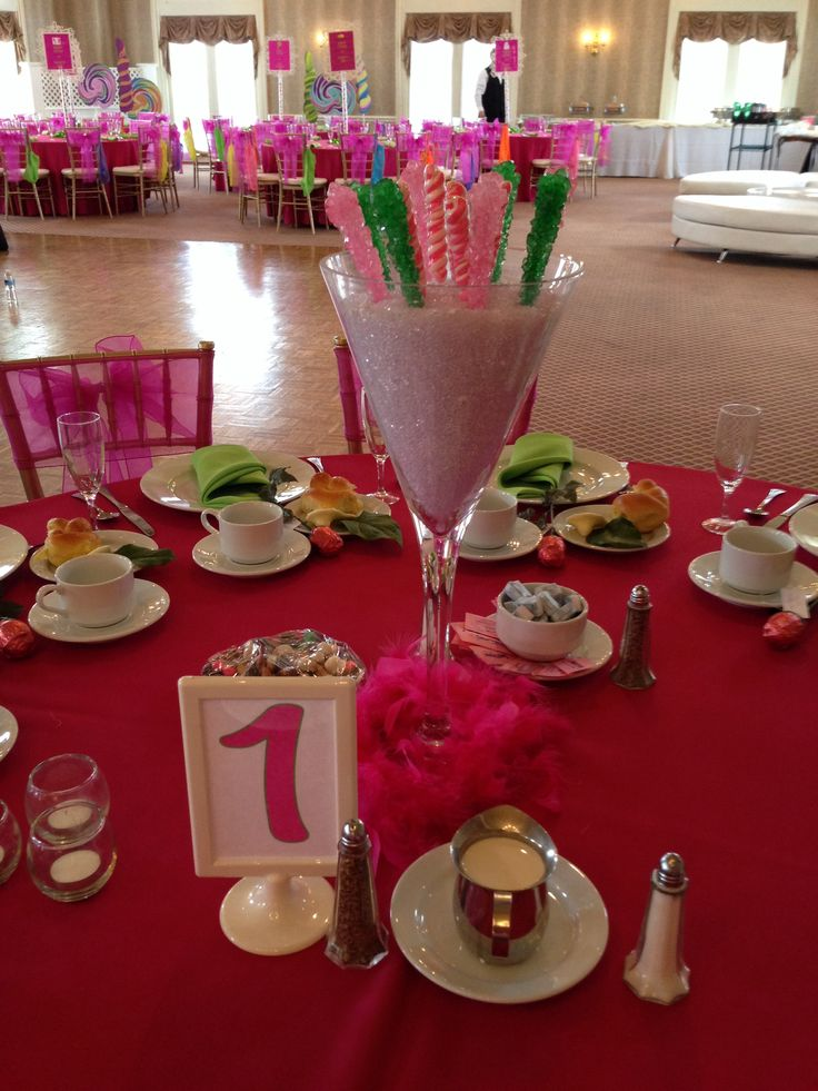 Beautiful rock candy centerpieces for a pink and green bat