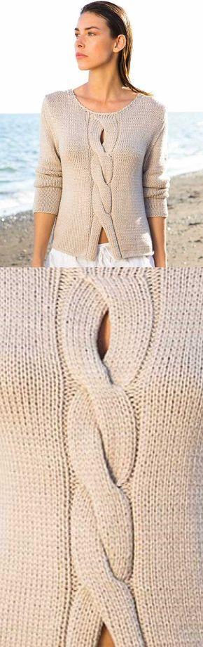 Senhoras Top Free Knitting Pattern com um cabo central
