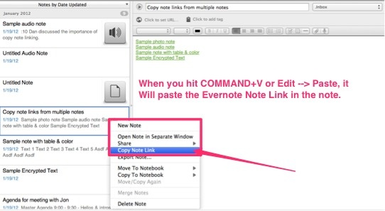 Evernote tip: Use copy note links to centralize key information! Create a master note and link out to various other notes across your Evernote database. This turns your Evernote master note into an index, a webpage, or even like a wiki. Need it while you're on the road without WIFI? Become a Premium member, and then put your master note and all of the linking notes in one notebook, and switch to offline mode on your iPad!  http://www.degconsulting.net/evernote.html