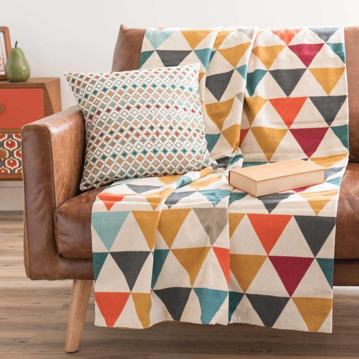 Colcha con motivos de triángulo de algodón 160 x 210 cm LARSEN