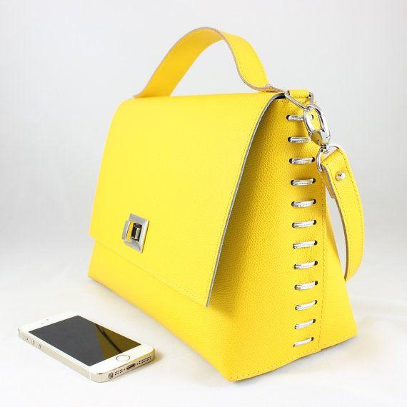 Yellow sun Leather satchel