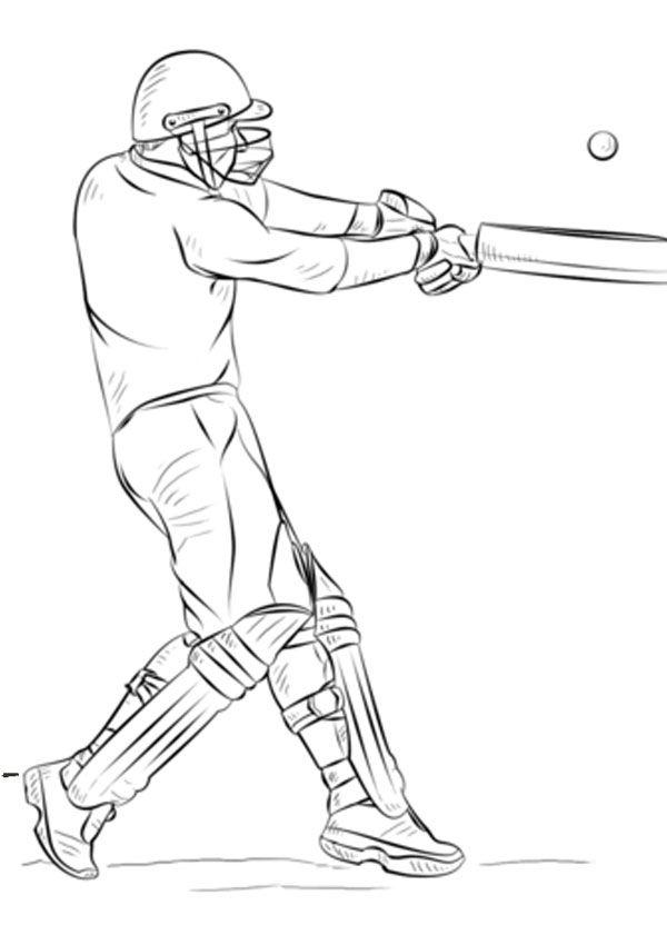 Cricket Batsman Coloring Page Sports Coloring Pages Coloring Pages Color