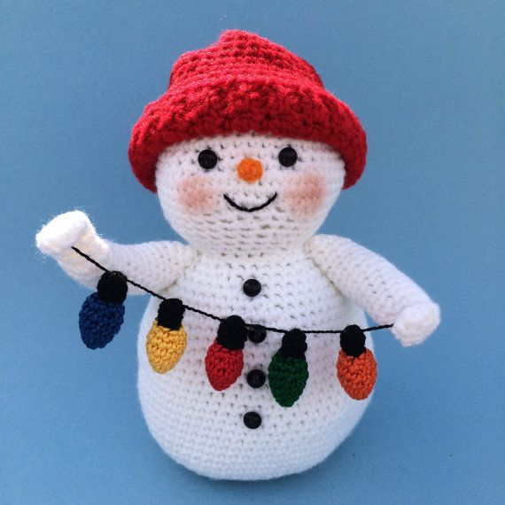 SNOWMAN WITH LIGHTS Pdf Crochet pattern