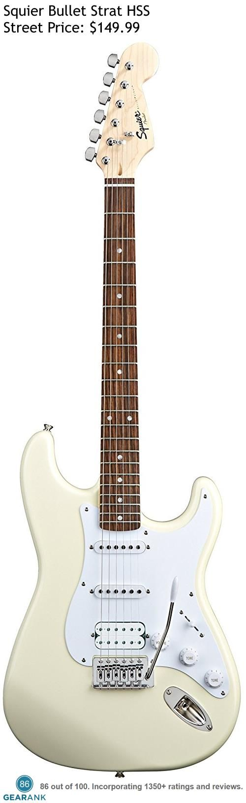 Squier Bullet Strat HSS. The HSS version of the Bullet Strat comes with a Humbucker pickup in the bridge position along with 2 single coil pickups. The street price is only $149.99. For a detailed guide to cheap electric guitars see https://www.gearank.com/guides/cheap-electric-guitars