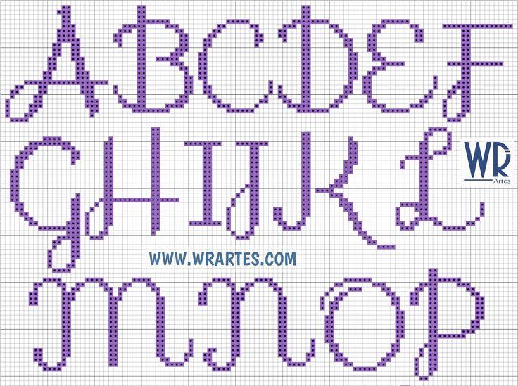 Cursive alphabet A-P