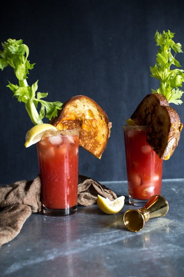 Bloody Mary with a grilled cheese garnish?! Um, yes please!