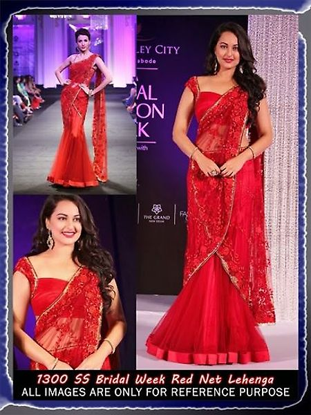 #SonakshiSinha Red Net Lehenga #Saree