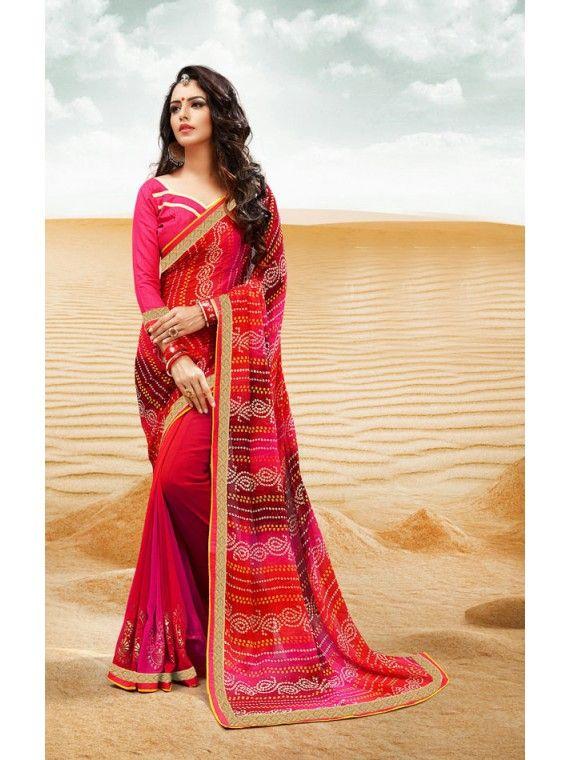 Alluring Shaded Pink, Orange and Maroon Printed Georgette Bandhej Saree