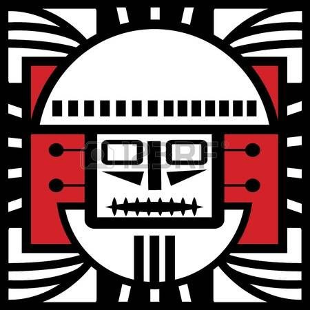 Ornament in style of the Maya  Head of the person  photo