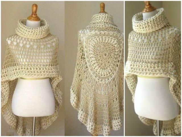 1415 best Ponchos y más images on Pinterest   Crochet clothes ...