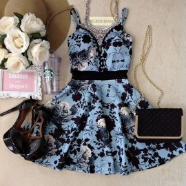 Vestido Carla no Neoprene C/BOJO( Fundo Azul)