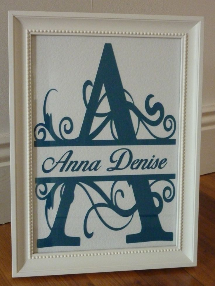 Name frame made for my niece, using split monogram font, cut with Brother Scan n Cut