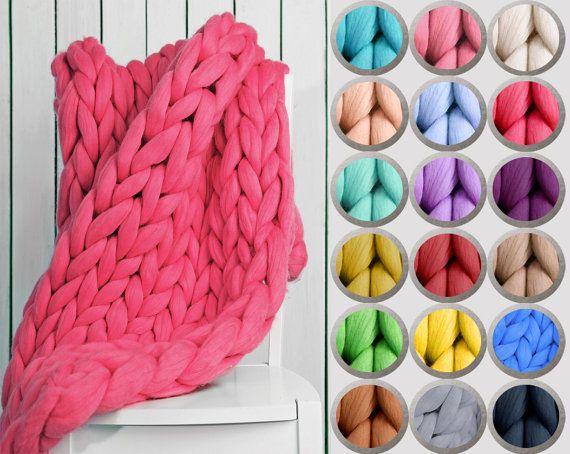 Tricoté en laine Chunky corail câble couverture par CuteWarm