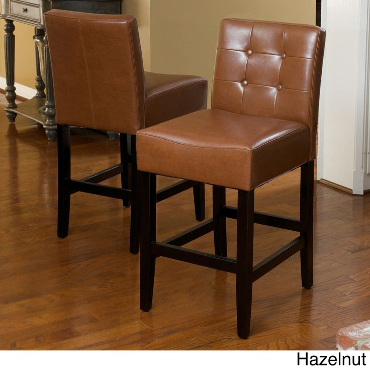 tate tufted leather counter stools set of 2 by christopher knight home tate brown leather counter stool set of 2 bonded leather - Leather Counter Stools