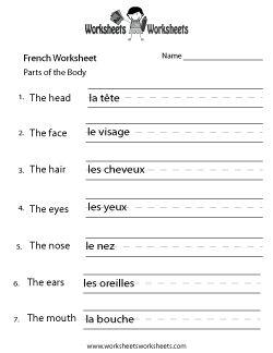 French Body Parts Worksheet