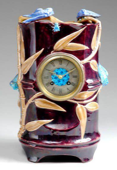 Continental Majolica Aubergine Mantel Clock