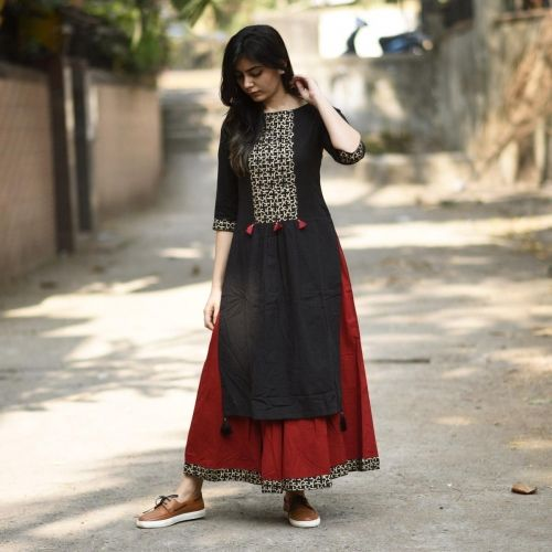 Buy RustOrange Red & Black Cotton Solid Straight Kurti online in India at best price. When it comes to fusion, this styles makes a mark.The perfect combination of cut, Block print and de