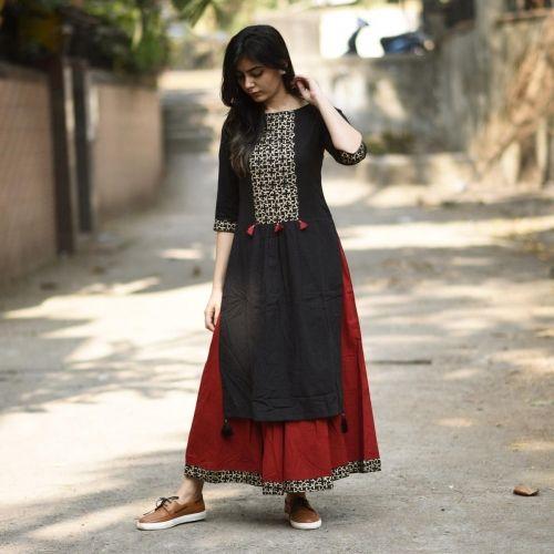 RustOrange Red & Black Cotton Solid Straight Kurti