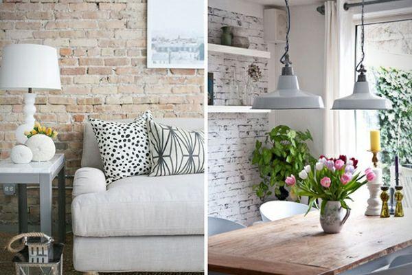 backstein tapete schicke rustikale akzente in der modernen wohnung klinkerwand pinterest. Black Bedroom Furniture Sets. Home Design Ideas