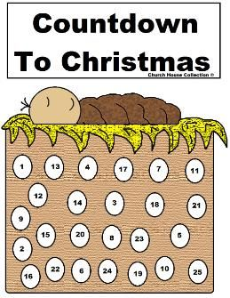 Baby Jesus Advent Calendar Printable For Christmas Countdown To Sheet Sunday School Childrens Church