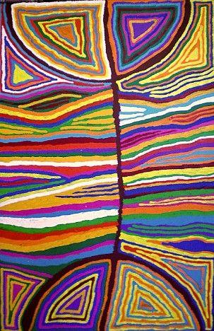 Judy Watson Napangardi, Majardi (hair-string belt), 2011,acrylic on linen (90 x 150 cm)