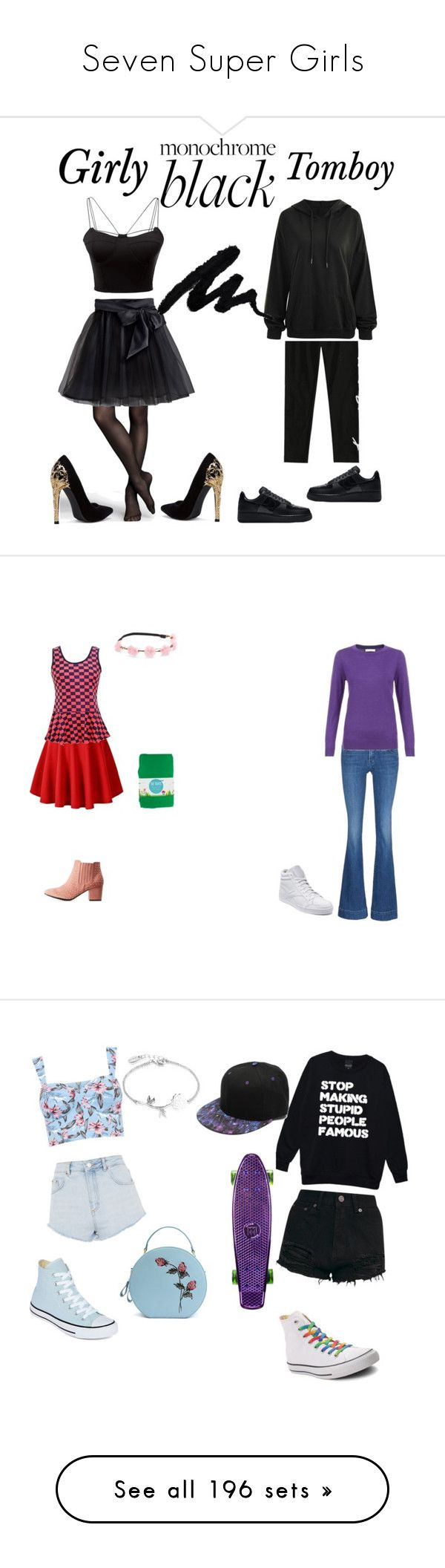 """""""Seven Super Girls"""" by sierra-ivy on Polyvore featuring WithChic, Express, Little Wardrobe London, NIKE, allblackoutfit, Charlotte Russe, Mudd, J Brand, Reebok and Converse"""