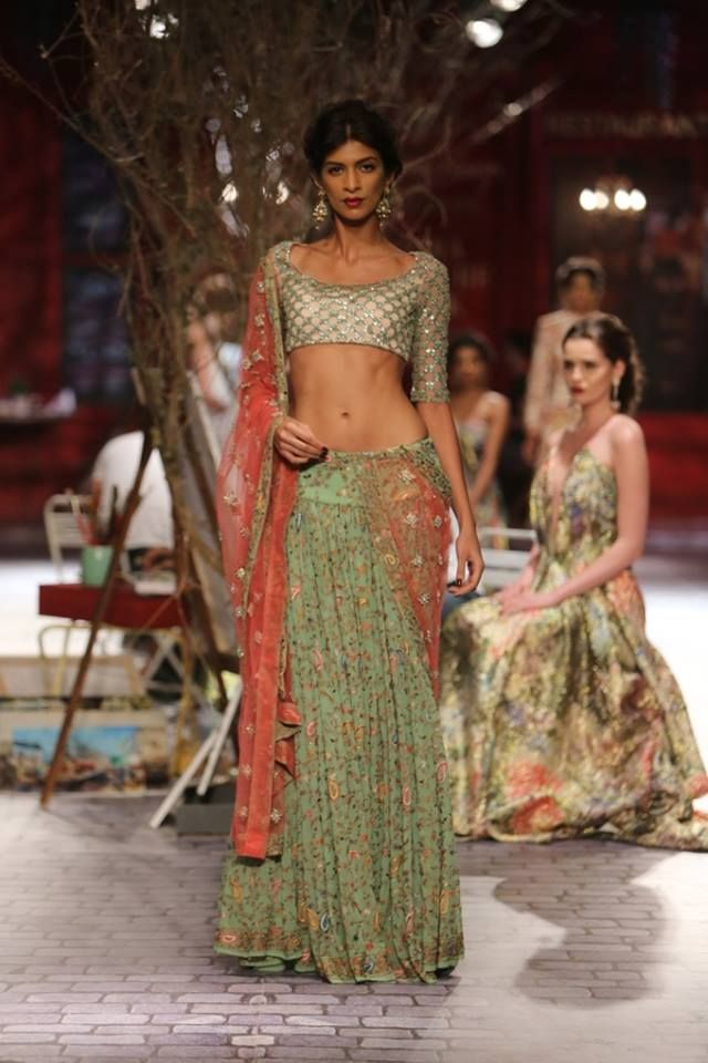 Monisha Jaising at India Couture Week 2014 - mint green and peach lehnga