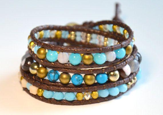 Beaded Wrap Bracelet Boho Chic Bracelet by NiceBraceletStudio