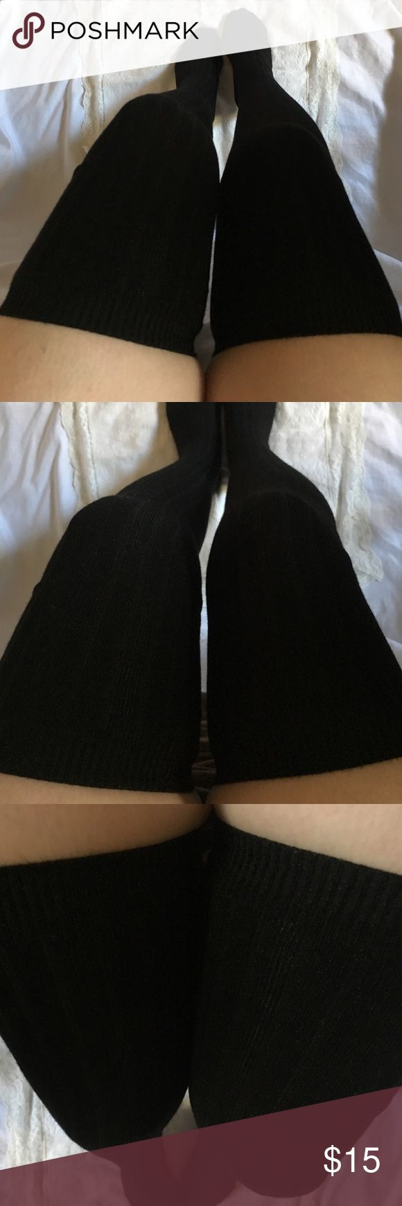 "🖤 2/$24. Thigh High Socks-Black New! Ribbed thigh high socks. 100% cotton. Will fit up to S/M.  I'm 5'4"" & the sock ends about 5"" over my knee. 🌸Also available in gray, dark gray, & brown.🌸 Accessories Hosiery & Socks"