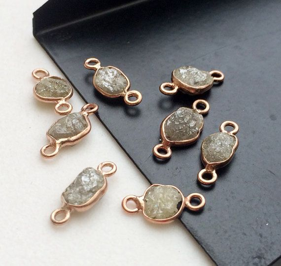 2 Pcs Rose Gold Grey Green Raw Diamond Connector by gemsforjewels