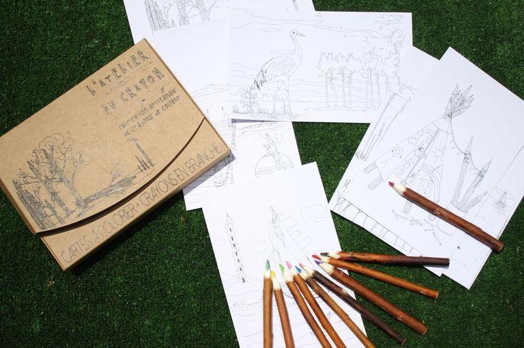 """Coffret de coloriage crayons """"Aquarellable"""" via L'Atelier du crayon. Click on the image to see more! Papeterie nature crayons en branches d'arbre"""