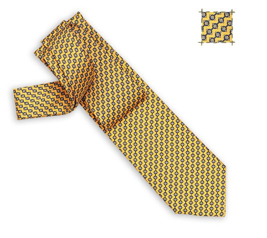 Accroche-moi Hermes silk twill tie, hand-folded, 3.15'' wide
