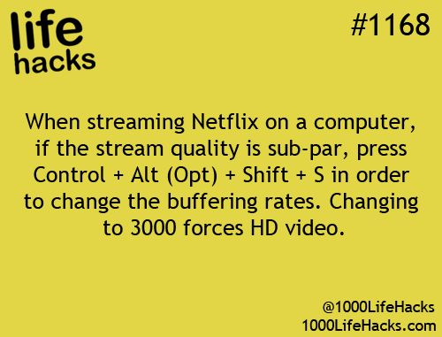 If Netflix stream quality is sub-par, press ctrl+alt+shift+s to change the buffering rates. Changing to 3000 forces HD video.