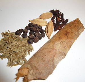 cumin, cardamom, pepper, cinnamon, cloves: spices for making Tanzanian pilau- add them to rice :)