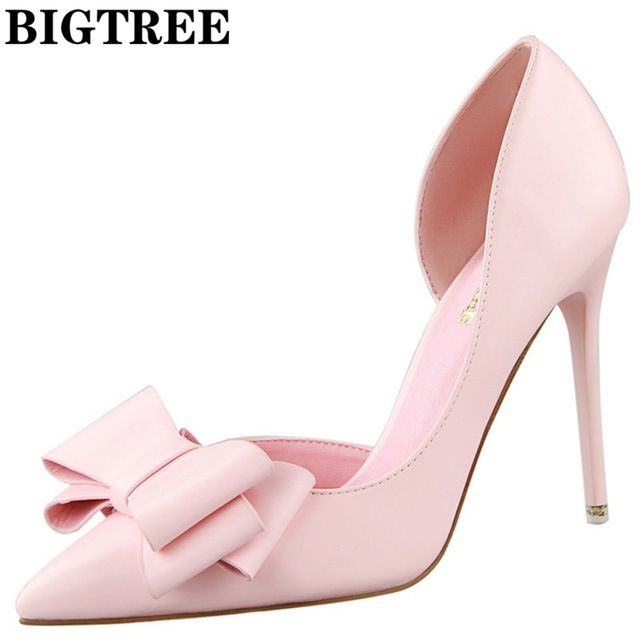 Fair price 2017 Elegant D'Orsay High Heel Shoes Slip On Party Shoes 10.5CM Thin Heels With Bowtie Fashion Point Toe Women's Pumps DS3168-2 just only $19.79 with free shipping worldwide  #womenshoes Plese click on picture to see our special price for you