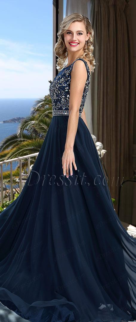 Sleeveless Blue Beaded Prom Formal Dress #eDressit