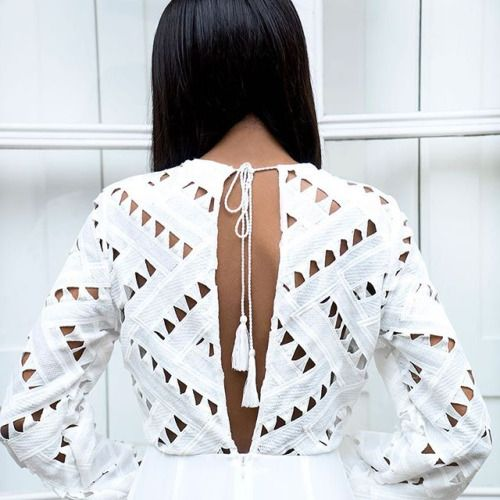 White top back off Precioso top blanco calado