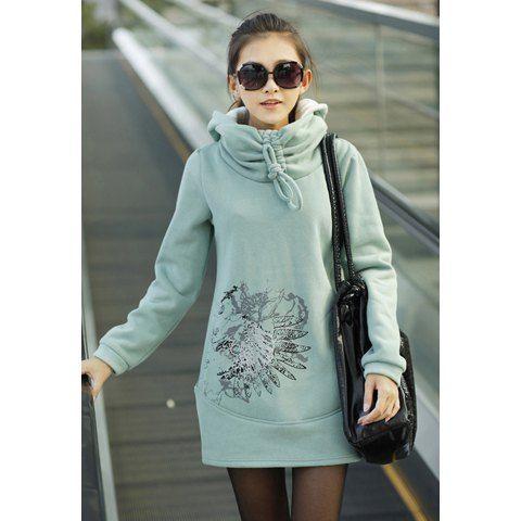 Stylish Hooded Long Sleeves Adjustable Collar Special Print Long And Warm Fleece Women's Hoodie, LIGHT GREEN, ONE SIZE in Sweatshirts & Hoodies   DressLily.com