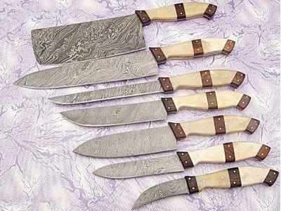 Damascus Kitchen Knife Set in Brown 7 PCs