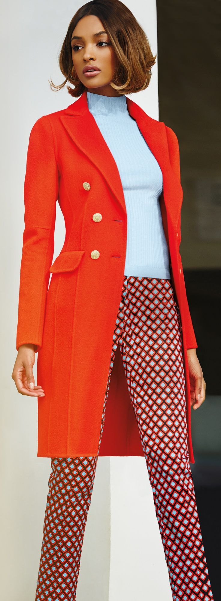 The StJohnKnits double breasted red cashmere coat is the perfect transitional outfit | sjk.com
