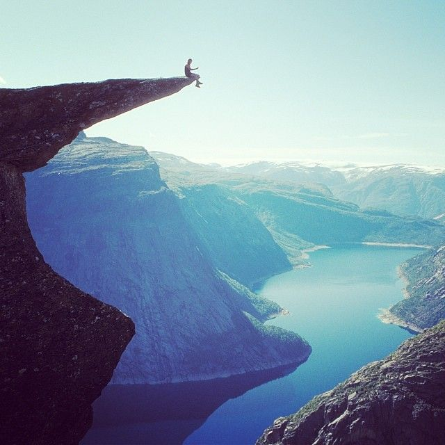 Trolltunga, Norway - awesome picture but don't count on me sitting way the hell out there..
