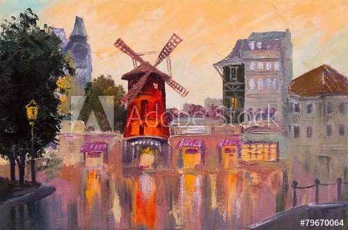 Картина маслом городской пейзаж - Мулен Руж, Париж, Франция